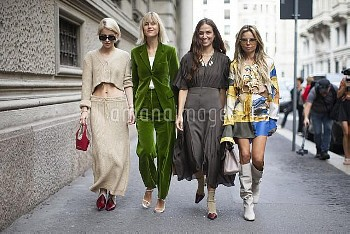 Guests show off their street style for the Salvatore Ferragamo Fashion Show