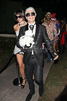 Ryan Seacrest is Karl Lagerfeld at the Casamigos Halloween party