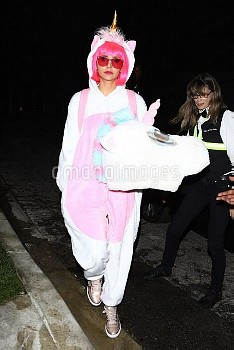 *EXCLUSIVE* Nina Dobrev is an adorable unicorn at Kate Hudson's annual Halloween party