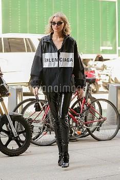 Elsa Hosk rocks Balenciaga for a fitting at the Victoria's Secret headquarters
