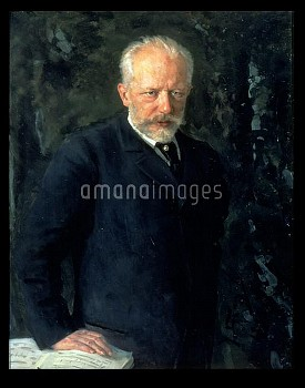 BAL75847 Portrait of Piotr Ilyich Tchaikovsky (1840-93), Russian composer, 1893 (oil on canvas); by