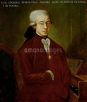 XAL201644 Portrait of Wolfgang Amadeus Mozart (1756-91) after 1770 (oil on canvas) by Austrian Schoo