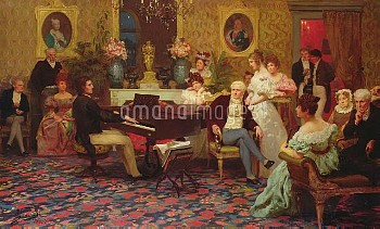 XKL96671 Chopin Playing the Piano in Prince Radziwill's Salon, 1887 (oil on canvas) by Siemiradzki,