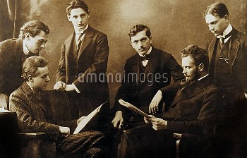 XRD1730839 Hungarian composer Bela Bartok (1881-1945 seated on l), with Zoltan Kodaly and hungarian