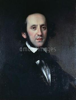 Portrait of the composer and conductor Felix Mendelssohn (Hamburg, 1809-Leipzig, 1847), 1856, painti