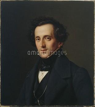 HIS360754 Portrait of Felix Mendelssohn, Duesseldorf, 1834-35 (oil on canvas) by Hildebrandt, Ferdin