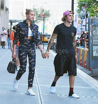 MANHATTAN, NY -  JULY 05, 2018: Justin Bieber and Hailey Baldwin seen on the streets of  Manhattan o