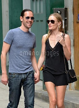 Newly engaged couple Kate Bosworth and Michael Polish take a romantic stroll around Soho, New York C