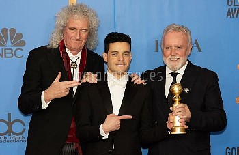 Roger Taylor, Brian May, Rami Malek attends The 76th Annual Golden Globe Awards - Press Room in Los