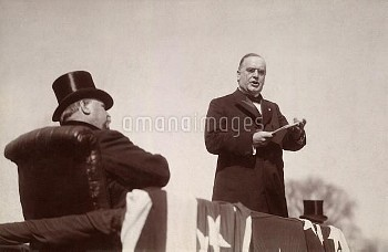 President William McKinley delivering his inaugural address on March 4, 1897. Outgoing President Gro