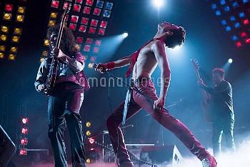 BOHEMIAN RHAPSODY, l-r: Gwilym Lee as Brian May, Rami Malek as Freddie Mercury, Joe Mazzello as John