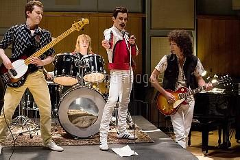 BOHEMIAN RHAPSODY, l-r: Joe Mazzello as John Deacon, Ben Hardy as Roger Taylor, Rami Malek as Freddi