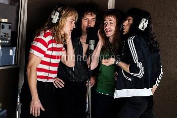 BOHEMIAN RHAPSODY, from left: Ben Hardy as Roger Taylor, Gwilym Lee as Brian May, Joe Mazzello as Jo