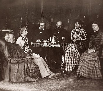 RICHARD WAGNER (1813-1883). German composer. Wagner (left) and his wife, Cosima (second from left),