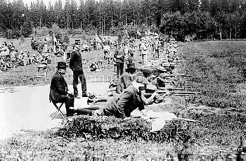 OLYMPIC GAMES, 1912. Army rifle shooting event at the fifth Olympic Games, held in Stockholm, Sweden