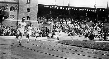 OLYMPIC GAMES, 1912. Runners competing in the 110 meter event during the 5th Olympic Games held in S