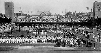 OLYMPIC GAMES, 1912. Opening ceremony at the 5th Olympic Games, held in Stockholm, Sweden, in 1912.