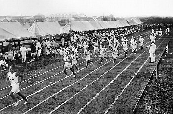 OLYMPIC GAMES, 1912. Track and field trials during the fifth Olympic Games, held in Stockholm, Swede