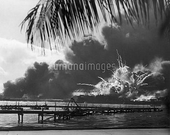 WORLD WAR II: PEARL HARBOR. The American destroyer USS Shaw exploding in the dry dock during the Jap