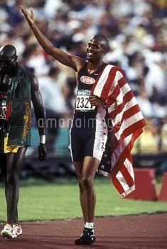 オリンピック  第26回アトランタ大会(アメリカ 1996年) 陸上 男子 400mハードル 金メダル デリック・アトキンス(アメリカ) クレジット:フォート・キシモト 1996年8月1日  Olym