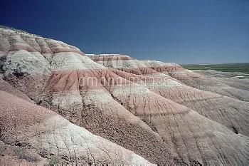 Sedimentary layers exposed by erosion, Badlands National Park, South Dakota