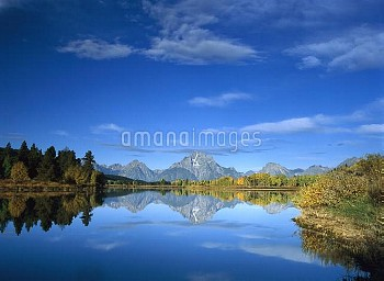 Mt Moran reflected in Oxbow Bend, Grand Teton National Park, Wyoming