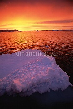 Sunset on ice floe, Pleneau Island, Antarctica Peninsula, Antarctica