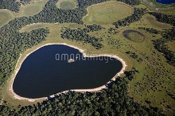 Saltwater lake in southern Pantanal shaped like a heart, Brazil