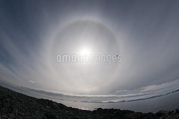 Sundog, also known as mock suns, Antarctic Peninsula, Antarctica