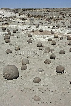 Ball court, stone concretions eroded by wind, Ischigualasto Provincial Park, San Juan, Argentina