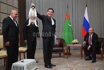 誕生日祝いに子犬をプレゼントされたロシアのプーチン大統領