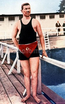 Germany's Emil Rausch, who won gold in the 880yds Freestyle and the Mile Freestyle, and bronze in th