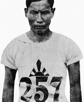 Gold medal winner Mikio Oda of Japan jumped 49ft 10 3/4 inches,(15.2m) it was Japan's first ever gol