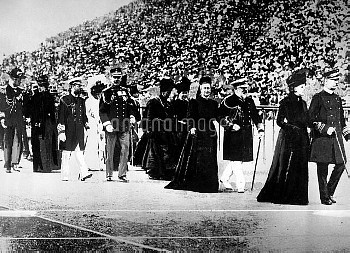 Members of European royalty file into the stadium during the opening ceremony