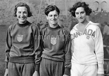 (L-R) The medallists in the high jump: USA's Jean Shiley (gold), USA's Mildred 'Babe' Didrikson (sil