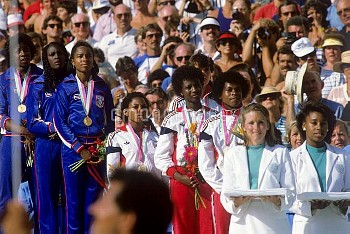 The Great Britain 4x100m relay team who won the bronze medal in the Los Angeles Olympic games. From