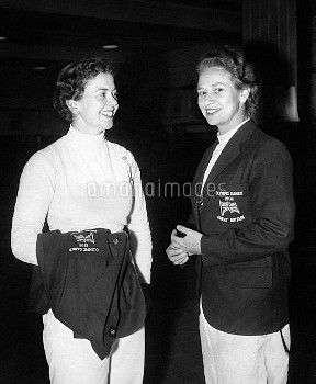 Gillian Sheen, left, and Mary Glen-Haig, members of the Great Britain Olympic fencing team. Gillian