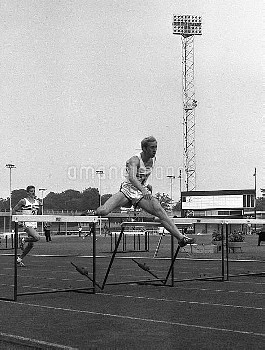 David Hemery in action, he is one of Britains entries for the 400 metres hurdles at the Olympic Game