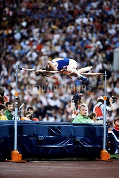 Gold medallist Rosemarie Ackermann of East Germany clears the bar using the straddle technique