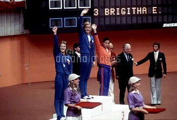 The medallists wave to their fans in the crowd afer receiving their medals: (l-r) East Germany's Pet