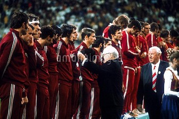 The Hungary team receive their silver medals after losing to Poland in the final