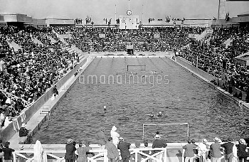 A general view during the eliminations for the Water Polo, at the Olympic Swimming Bath at Tourelles
