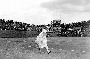 Helen Wills of the USA in play during the doubles match between Wills and Hazel Wightman and British