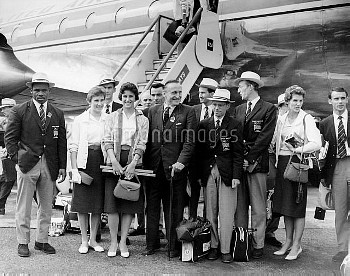 (L-R) Some of the British medallists pictured upon their arrival at London Airport: weightlifter Lou