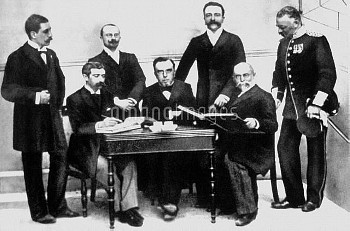 The International Olympic Committee pictured at the first Olympic Games in Athens, 1896: (back row,