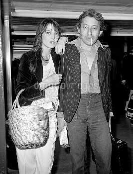 Actress Jane Birkin with husband Serge Gainsbourg at London's Heathrow Airport after arriving from P