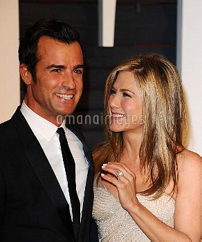 Jennifer Aniston and Justin Theroux attending the 2015 Vanity Fair Oscar Party 2015 in Los Angeles,