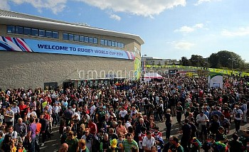 Fan arrive for the Rugby World Cup match at the Brighton Community Stadium, Brighton.