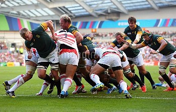 South Africa haul the ball towards the try line to score their first try during the Rugby World Cup