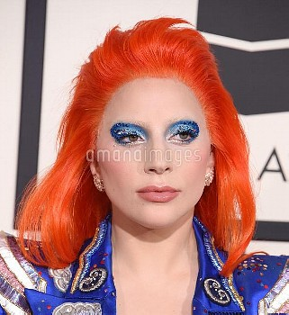 Lady Gaga arriving at the 58th Annual Grammy Awards held at Staples Center, Los Angeles